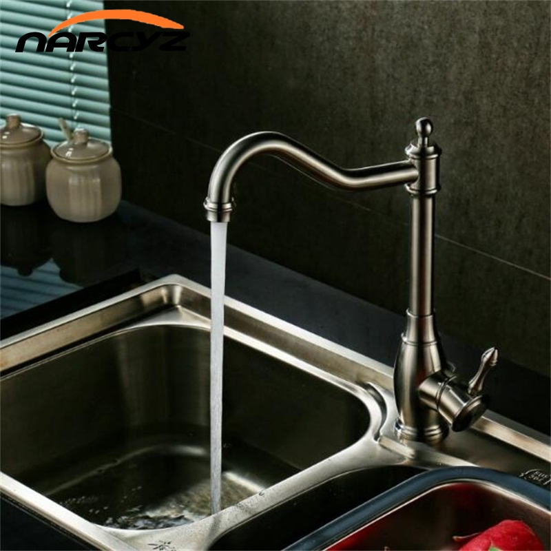 Kitchen Faucets Kitchen Water Tap Stainless Steel Kitchen Sink Faucet Single Handle Tall Spout Wash Basin Mixer Taps XT-95 sus304 stainless steel dish basin faucet water tap ceramic disc cartridge single hot cool water mixer rotable unleaded faucet