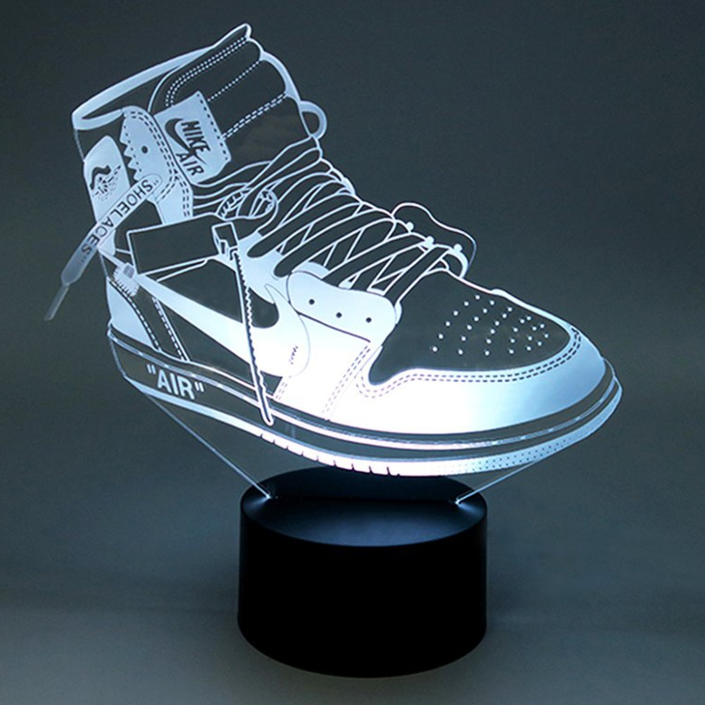 Creative Colorful USB Child Night Lights 3D LED Sports Shoes Bedroom Office Home Decor Lighting Desk Table Lamp Sports Fans Gift