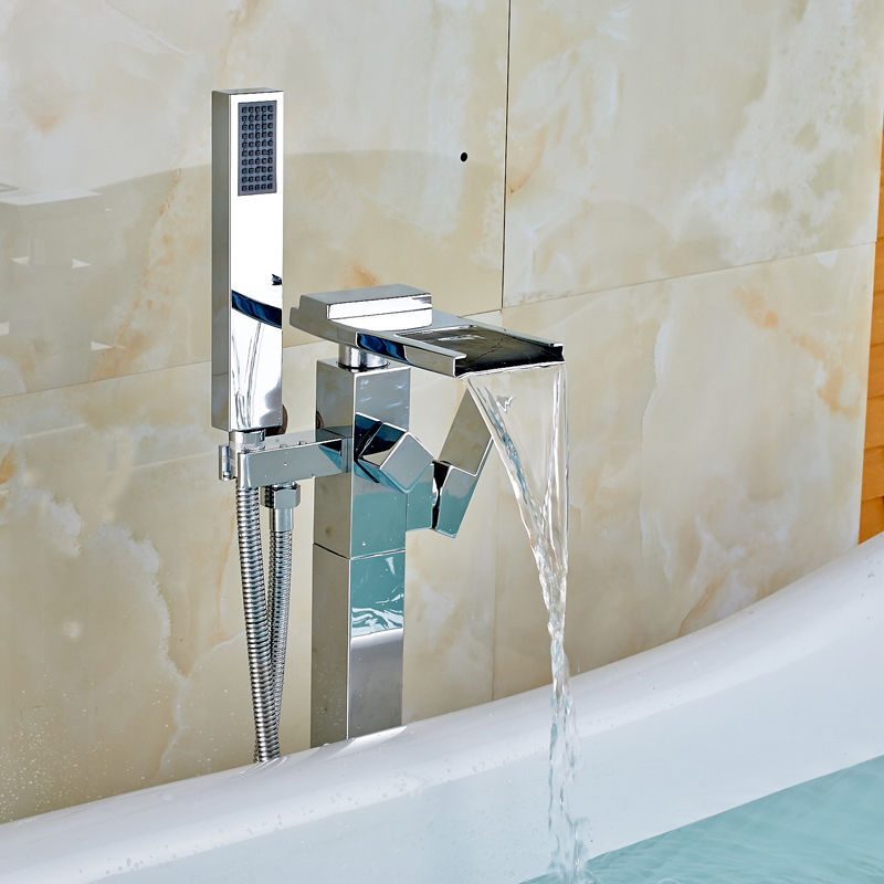 Ulgksd Free Standing Bathroom Tub FaucetHand Shower Floor Standing ...