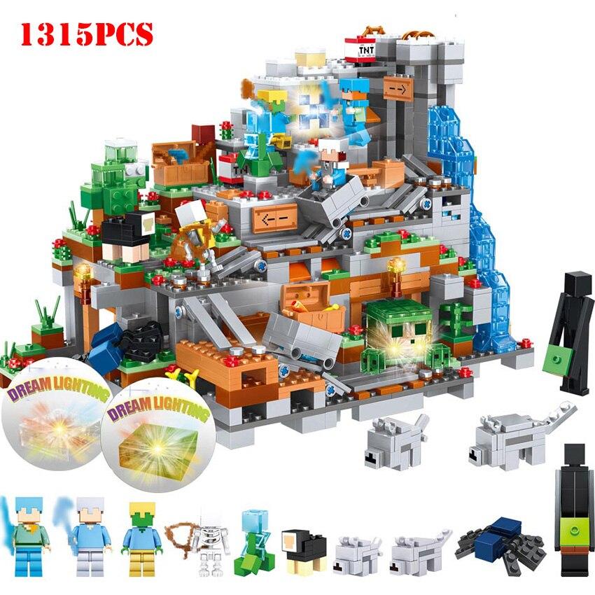 1315 pièces Mon Monde Minecrafted Montagne Château figurines d'action blocs de construction Compatible Legoed Minecraft Ville briques diy Jouets Kid