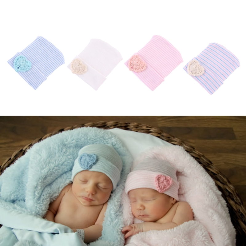 Newborn Baby Infant Girl Comfy Bowknot Hospital Beanie Hat SET socks mittens