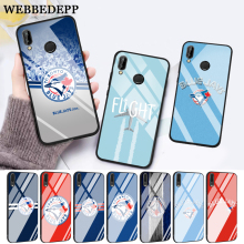цена на WEBBEDEPP Baseball Toronto Blue Jays Logo Glass Case for Huawei P10 lite P20 Pro P30 P Smart honor 7A 8X 9 10 Y6 Mate 20