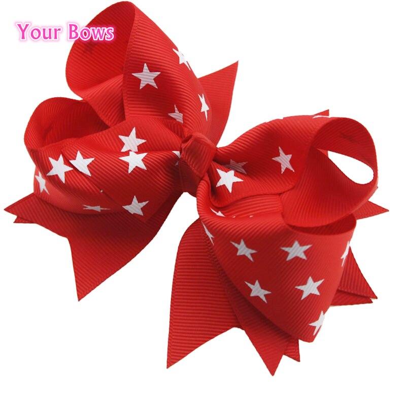 1 шт. 5 дюйм(ов) красной лентой белая звезда волосы луки Одежда высшего качества Компактный детский Луки красивые Заколки для волос для Обувь ...