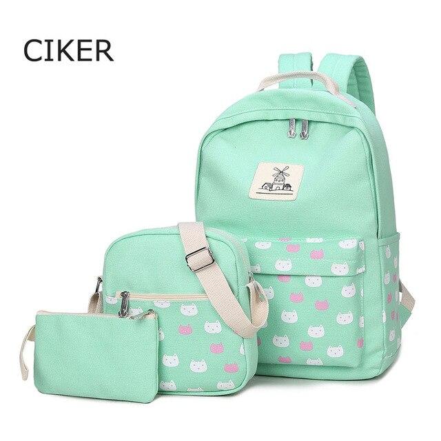 CIKER women canvas backpack fashion 3pcs/set cat printing backpacks for teenage girls shoulder bag school bags mochila rucksack