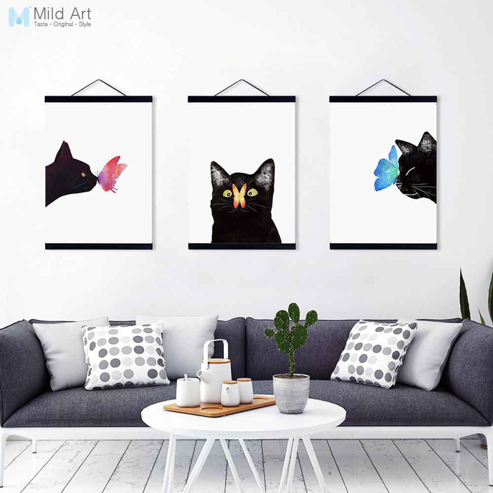 26b002cf70376 US $8.36 47% OFF|Modern Watercolor Cute Animal Butterfly Cat Wooden Framed  Canvas Paintin Girl Room Home Deco Wall Art Print Picture Poster Gifts-in  ...