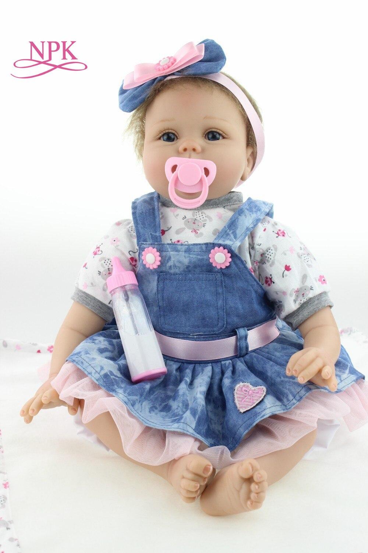 Npk 시뮬레이션 된 인형 reborn 생일 선물 55 cm reborn 소녀 아기 실리콘 인형 시뮬레이션 아이 잠자는 놀이 친구 장난감 소녀를위한 선물-에서인형부터 완구 & 취미 의  그룹 1