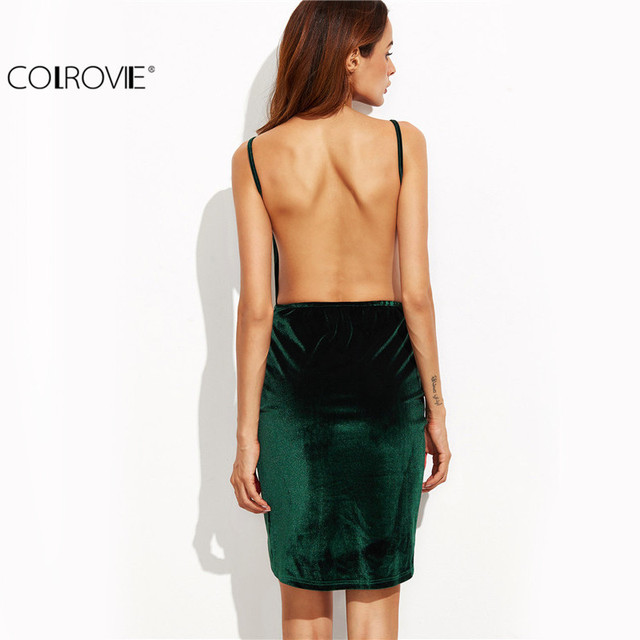 COLROVIE Velvet Bodycon Dress 2017 Sexy Womens Backless Dresses Party Night Club Dress High Low Ruched Wrap Cami Dress