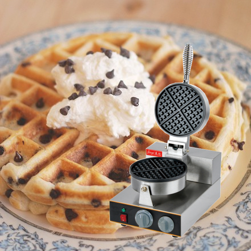 110V 220V 1300W Non-Stick Gas Waffle Maker Single Head With Timer For Commercial Ice Cream Skin Maker Machine EU/AU/BS/US Plug 110v 220v commercial electric waffle maker non stick single plate ice cream cone maker machine eu us bs au plug