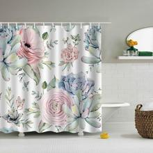 Green Leaves Printed Marine Polyester Waterproof Shower Curtain With 12pc Hook Mildew Resistant Bath Home