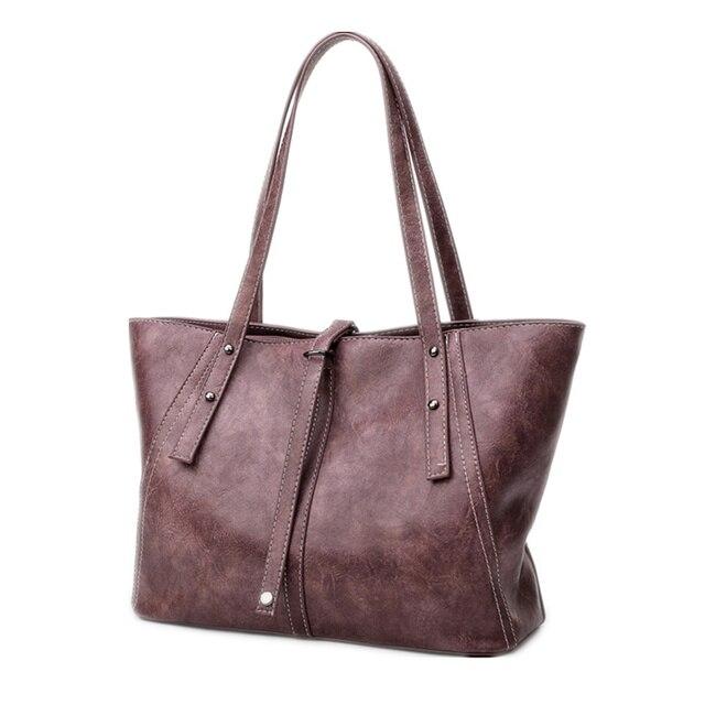 69ae2b5cef0c Retro Women Handbag PU Leather Women Bag Large Capacity Tote Bag Big Ladies  Shoulder Bags Famous