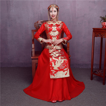 Chinese Vintage Women Dragon&phoenix Marriage Cheongsam Suit Traditional Wedding Evening Party Bride Toast Clothes Hanfu Custome