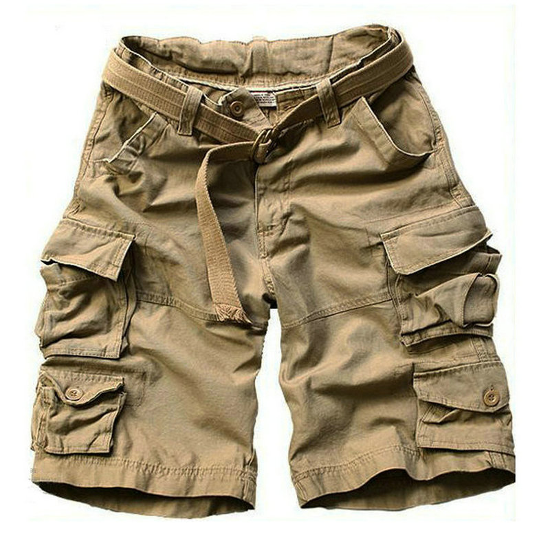 2018 New Summer Multi pocket Camouflage Mens Shorts Casual Loose Camo Knee length Mens Cargo Shorts With Belt S 3XL