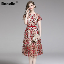 Banulin High Quality 2019 Women Fashion Designer Runway Summer Party Dress 3D Floral Embroidery Sequins Long Beach