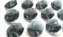 Free Shipping,Smokygrey Octagon for Pendant Lights 14x14mm two holes/Crystal Bead 800pc/lot