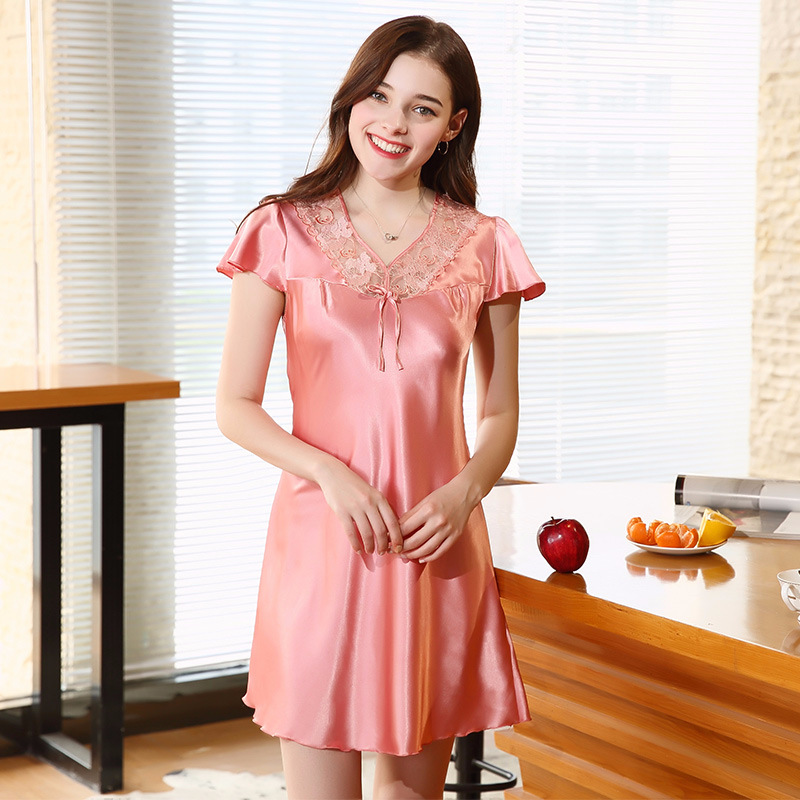 New Sweet Young Women Faux Silk Nightgown Fashion Sleepwear Summer Ladies Sleepshirts Short Nightie Female Night Dress SQ332B