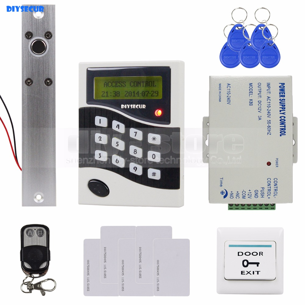 DIYSECUR RFID ID Card Keypad Door Access Control System Kit + Electric Bolt Lock  +Free 10 ID Cards Key Fobs B100 diysecur rfid metal case keypad door access control security system kit electric bolt lock power supply 7612