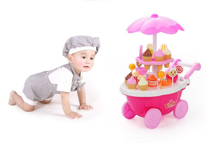 [Funny] Play House Game Kitchen Toys electronic Candy Ice Cream lollipop retail Stroller car with light music toy baby girl gift
