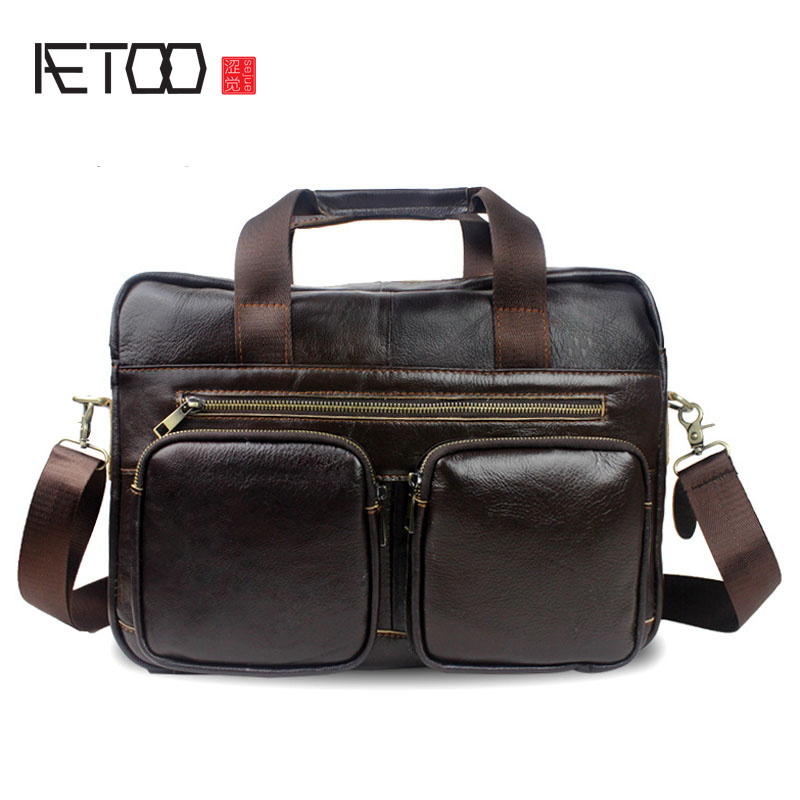 AETOO Handbag Male Bag Genuine Leather Bags Men Briefcase Business Men Crossbody Messenger Bags Leather Laptop Bag Lawyer xiyuan genuine leather handbag men messenger bags male briefcase handbags man laptop bags portfolio shoulder crossbody bag brown