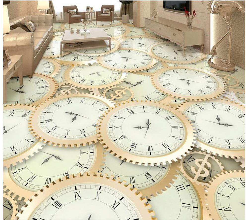 waterproof wallpaper for bathroom 3d Watches and clocks 3D floor pvc self-adhesive wallpaper Home Decoration free shipping marble texture parquet flooring 3d floor home decoration self adhesive mural baby room bedroom wallpaper mural