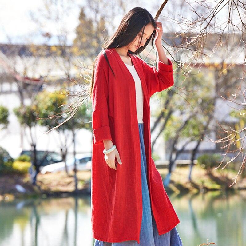 Nuevo Sólido de Color Rojo de manga Larga Kimono Mujeres Blusas Camisas de Lino