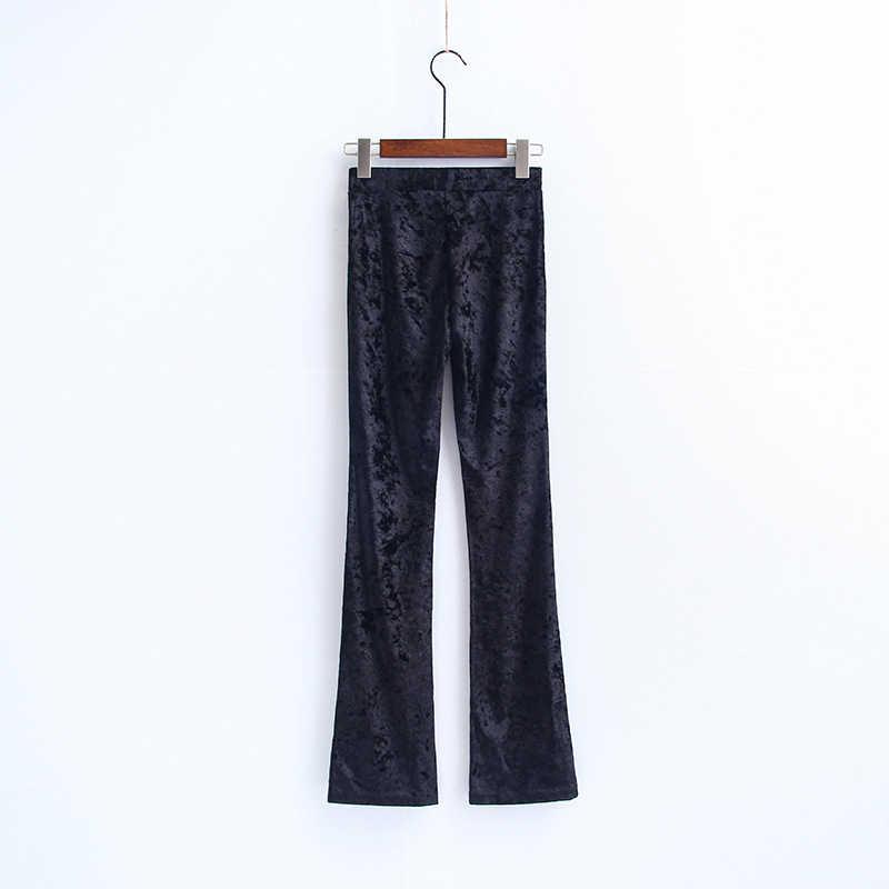 Bella philosophy 2019 wiosenna, retro silm wysokiej talii aksamitne spodnie flare rozciągliwe vintage pant kobiety jesień długie spodnie