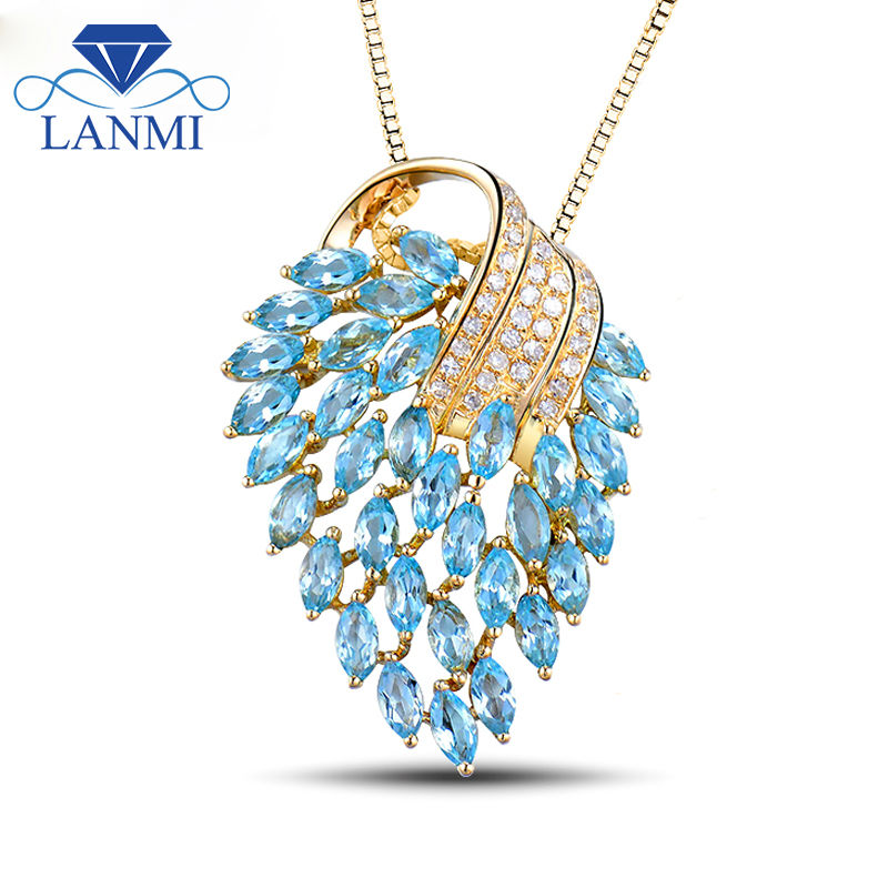 18Kt Yellow Gold Blue Topaz Pendants Diamond 750 Gold Gemstone Pendant Diamond...