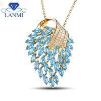 18Kt Yellow Gold Blue Topaz Pendants Diamond 750 Gold Gemstone Pendant Diamond Jewelry for Women Birthday Gift E00153A