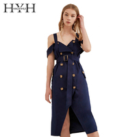 HYH HAOYIHUI Women Fashion Solid Color Sexy Off Shoulder Sleeveless Female Double Button A line Waistband Dress