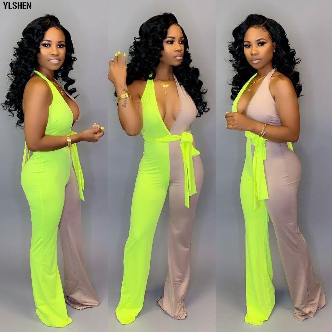 2019 Summer Jumpsuit For Women Plus Size Sexy Backles Long Pants Neon Green Jumpsuits Ladies Elegant Overalls Bodysuit Clothes