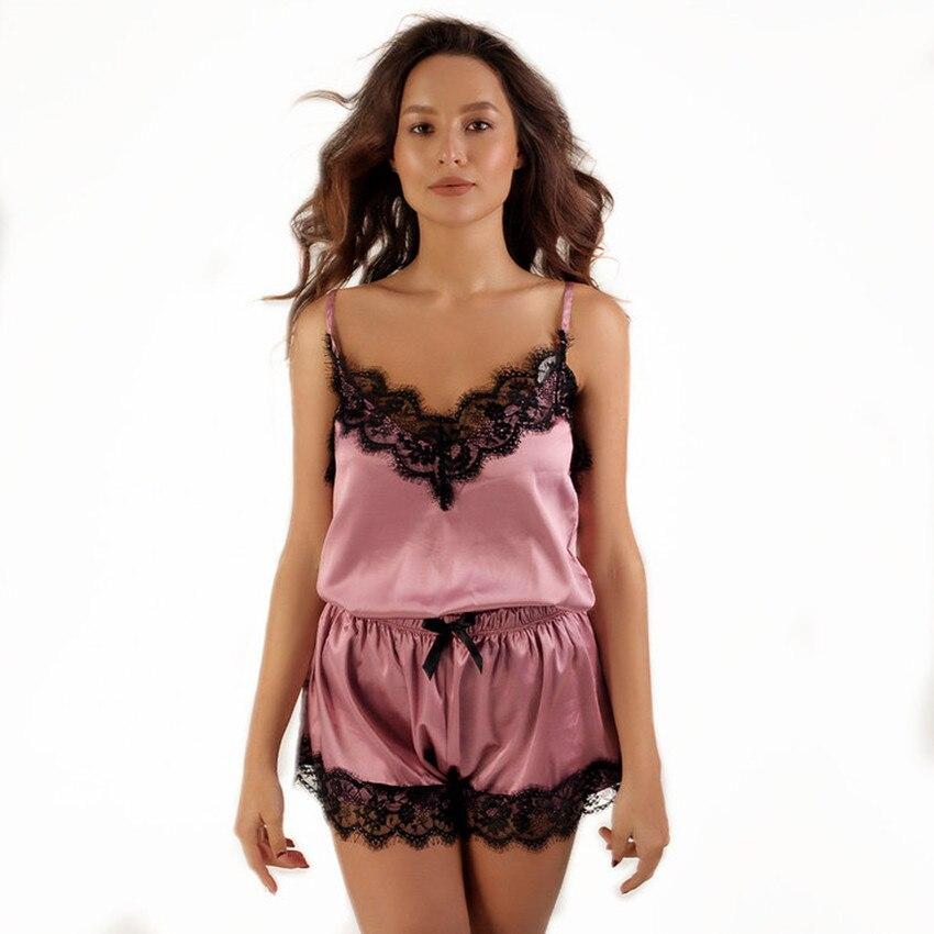 Women Clothes   Pajamas   Sleepwear for Women Sleeveless Spaghetti Strap Nightwear Lace Trim Satin Cami Top shorts   Pajama     Sets