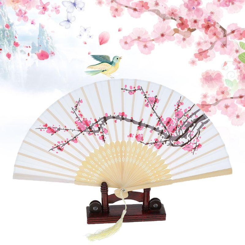 Summer Vintage Chinese Folding Fan Japanese Plum Blossom Tassel Silk Bamboo Hand Held Fan Wedding Party Dancing Decor Gift