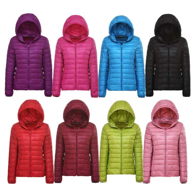 28fe52973 Ultra-light Plus Size Thin Down Jacket Women 2019 Autumn Winter Slim Short  Hooded Warm White Duck Down Coat Women's Outerwear