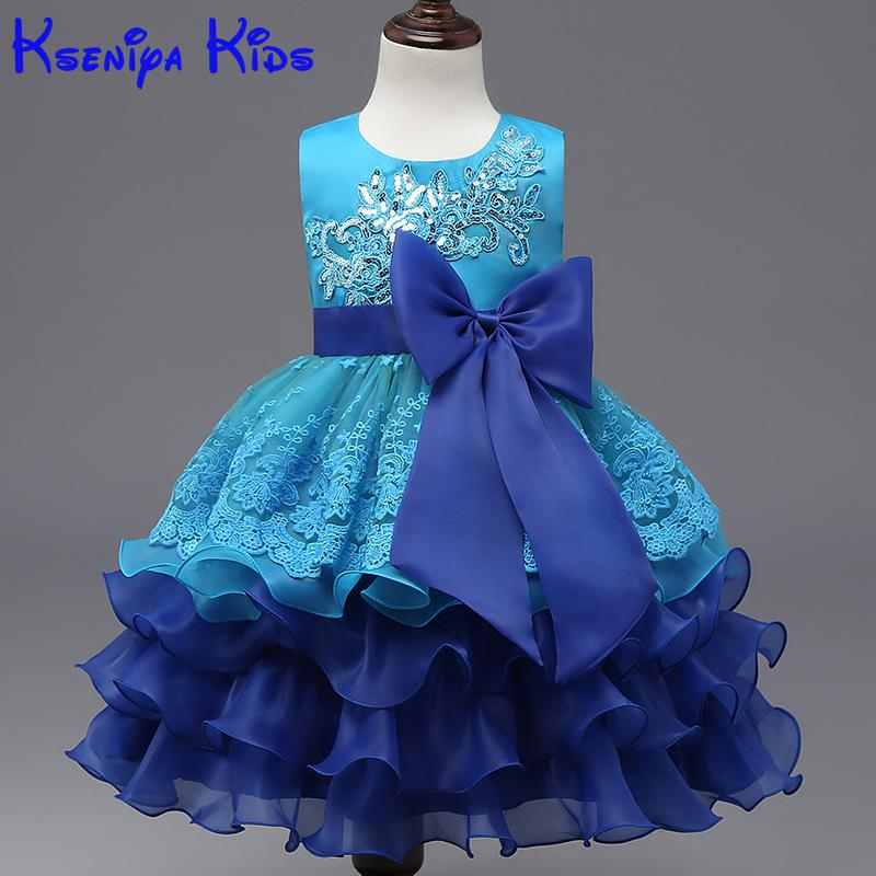 Baby Girl Blue Princess Dress 3-8 Years Kids Sleeveless Autumn & Winter Dresses For Girls Christmas Dress Wedding Party Dress baby girls party dress 2017 wedding sleeveless teens girl dresses kids clothes children dress for 5 6 7 8 9 10 11 12 13 14 years