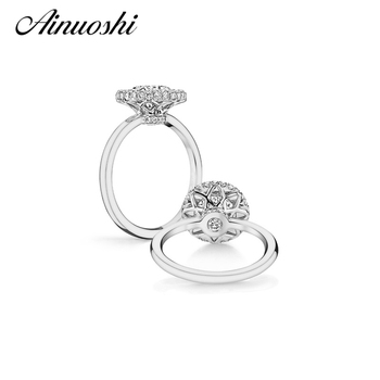AINUOSHI Solid 925 Sterling Silver Wedding Promise Engagement Halo Ring Jewelry 2 Carat Round Cut Sona Synthetic Women Band Ring