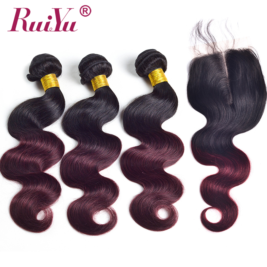 Brazilian Body Wave Ombre Hair Bundles With Closure Non Remy Hair 1b 99j Pre-colored Human Hair Bundles With Lace Closure RUIYU