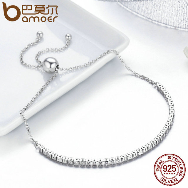 BAMOER  925 Sterling Silver Sparkling Strand Bracelet 5