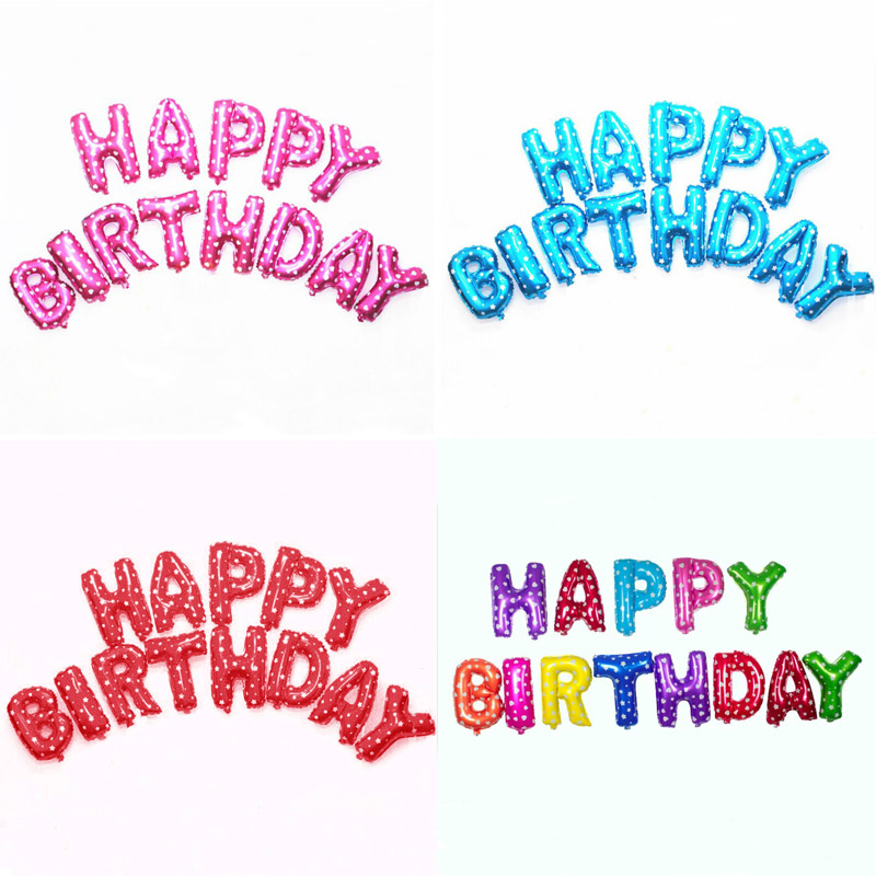 13pcs/lot Letter Happy Birthday BALLOON Aluminum Foil Balloon Baby Birthday Part
