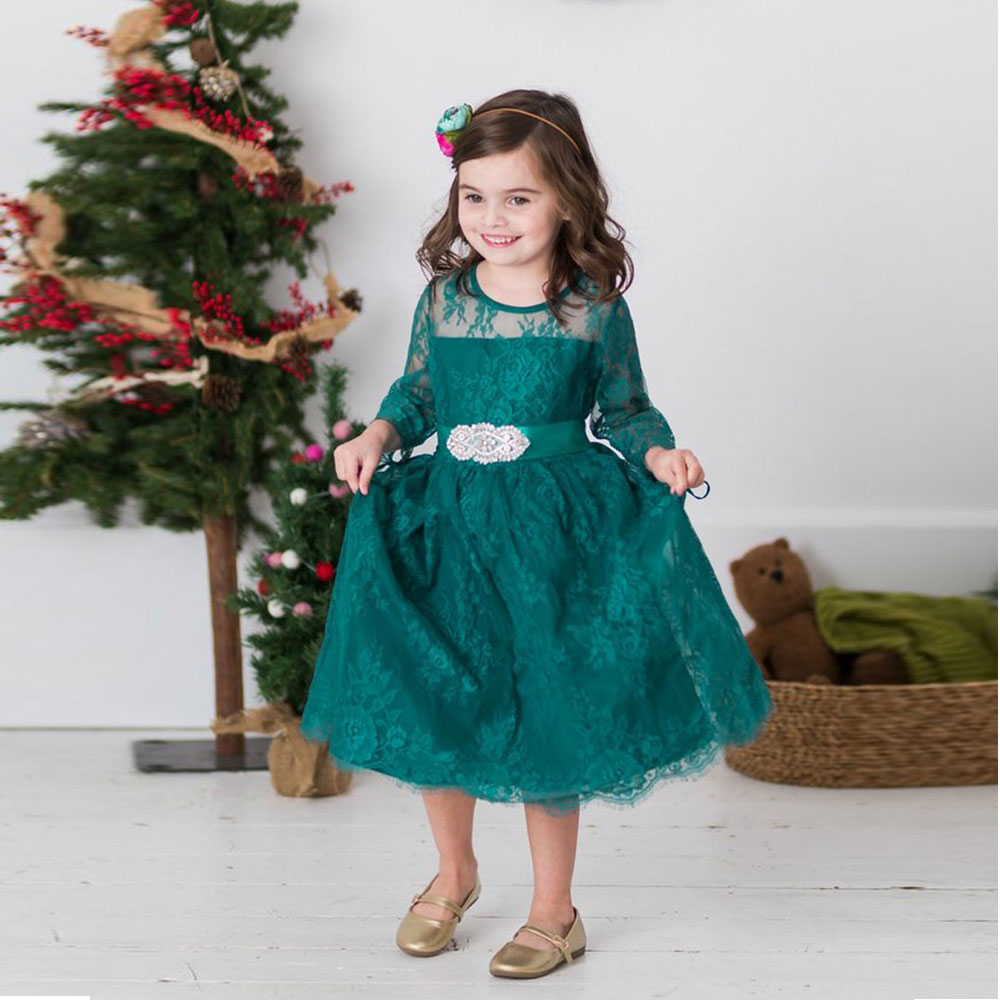 Fancy Half Sleeves Turquoise Lace A-line Flower Girl Dress Sheer Crew Neckline Tea Length Kid Wedding Party Dress with Bead Sash fancy bateau neck half sleeves lace sashes a line knee length prom dress designed