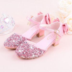 Image 3 - 2019 girls bling 반짝이 bowtie 샌들, 하이힐, kids princess dance performance 여름 신발, 실버 & 핑크, 26 38