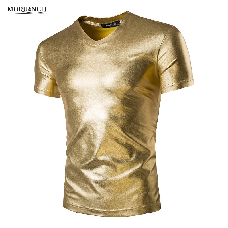 MORUANCLE Mens Trend Night Club Coated Metallic Gold Silver T-Shirts Stylish Shiny Short Sleeves V Neck Tshirts Tees For Male