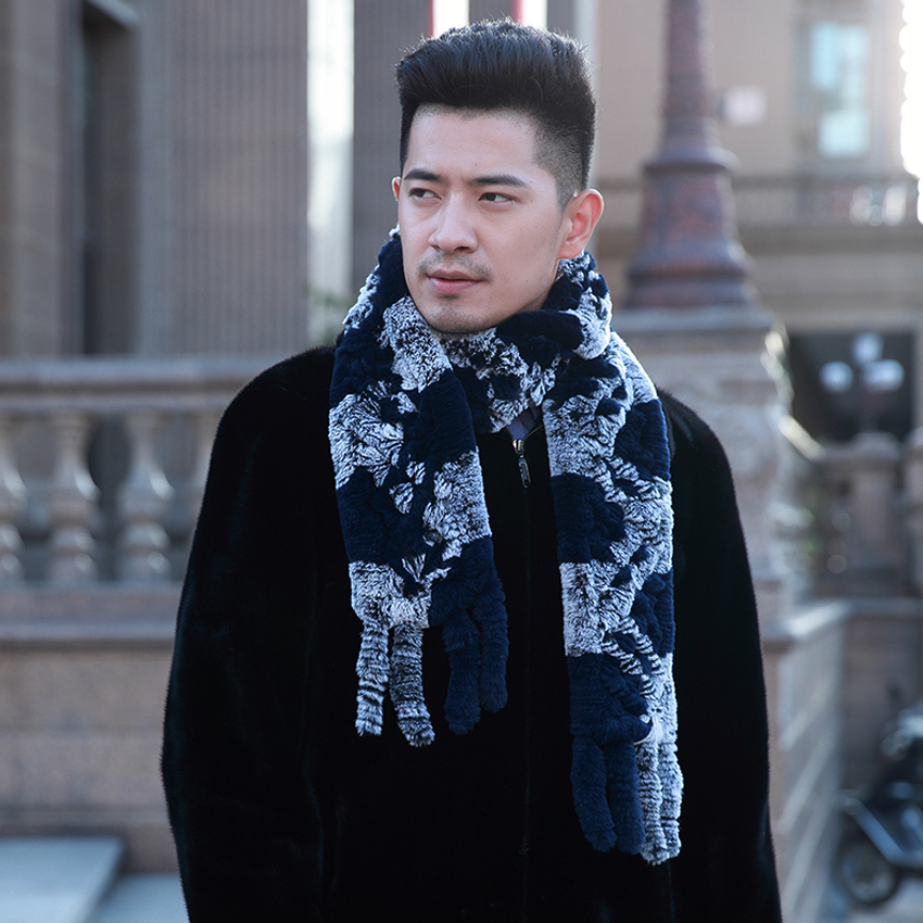 [YCFUR] Men   Scarves   Winter Knit Rex Rabbit Fur   Scarf   For Men Winter Warm Fur   Scarves     Wraps   Male