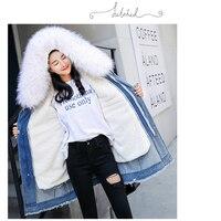 Winter fur parka Denim jacket woman hooded winter coat long jacket women High quality faux fur lined with warm woman jacket Coat