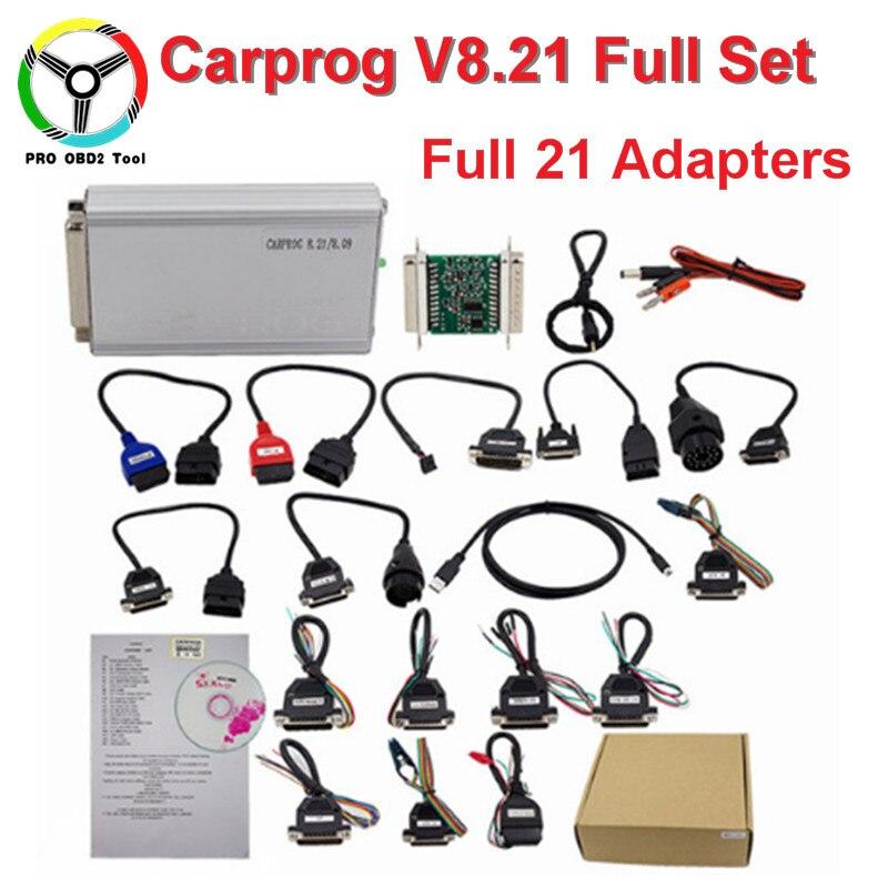 CARPROG v8.21 интернет-версия автомобиля PROG микропрограммное обеспечение 8.21 v9.31 ECU чип инструмент для airbag/ECU/тире/Immo /Радио Полный комплект с 21 Адап...