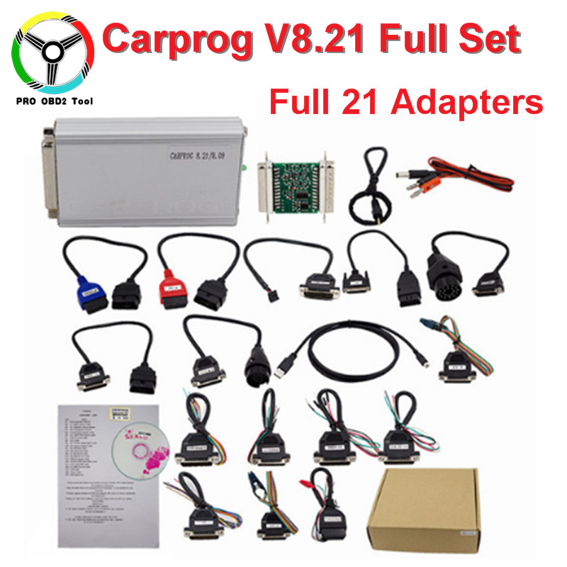 Carprog V8.21 Online Version Car prog Firmware 8.21 V9.31 ECU Chip Tool For Airbag/ECU/Dash/Immo/Radio Full Set With 21 Adapters new version v2 13 ktag k tag firmware v6 070 ecu programming tool with unlimited token scanner for car diagnosis