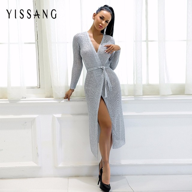 Yissang New Arrival Winter Casual Long Sleeve Dresses Women Sliver V Neck  Vestidos 2018 Female Club Party Midi Elegant Dress 60852979c2ed