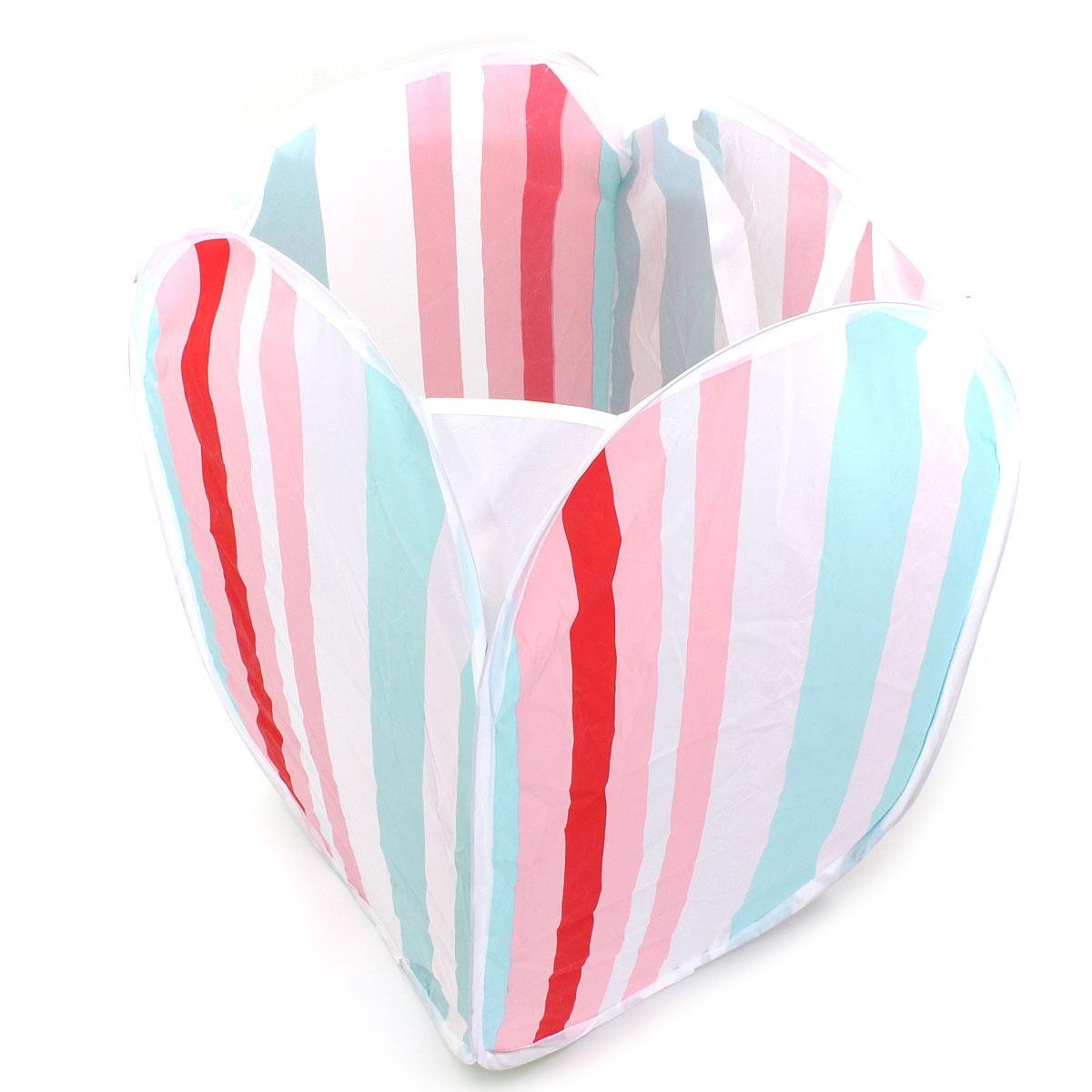 HGHO-100% Good Large-Capacity Foldable Washing Clothes Basket Laundry Bag Bin Hamper Storage(stripe)