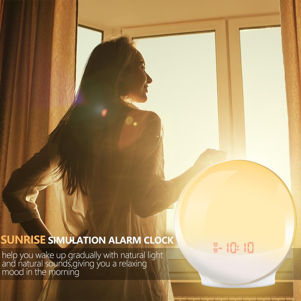 Image 2 - TITIROBA Digital Snooze Function Alarm Clock New Wake up light  Clock Sunrise Sunset Light FM Function Alarm Clock for Daily LifeAlarm  Clocks