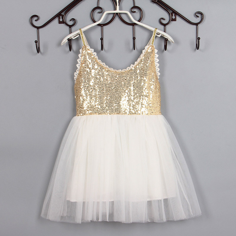 Dollbling Dollbling 2016 New Summer Girls Sleeveless Dress Gold Sequin Baby Girl Tutu Dress Pink Blue Toddler Clothing for Baby