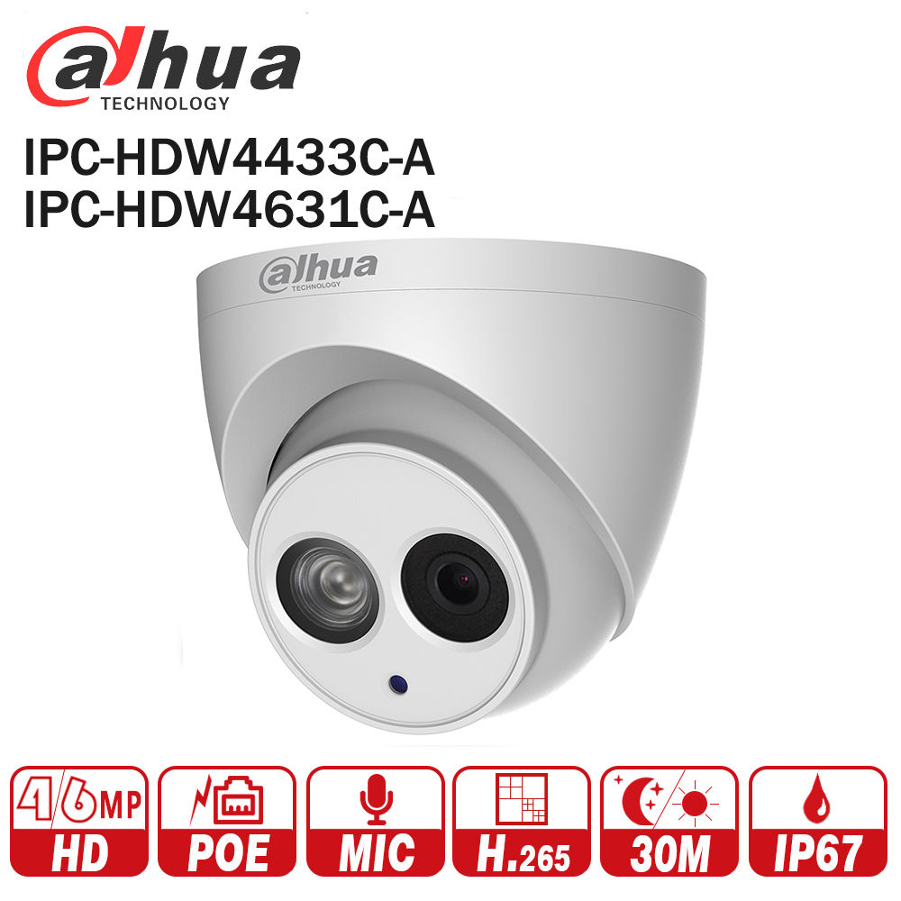 DaHua POE IP Camera IPC-HDW4433C-A IPC-HDW4631C-A POE 4MP 6MP Network IP Camera Built-in MIC 30M IR Night Vision WDR Onvif 2.4