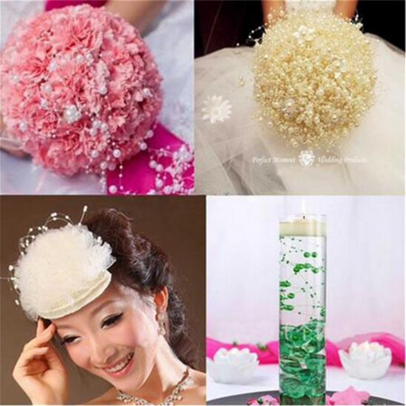 5 Meters Clear Fishing Line Artificial Pearls Beads Chain Garland Flowers Wedding Party Decoration Products Supply 5